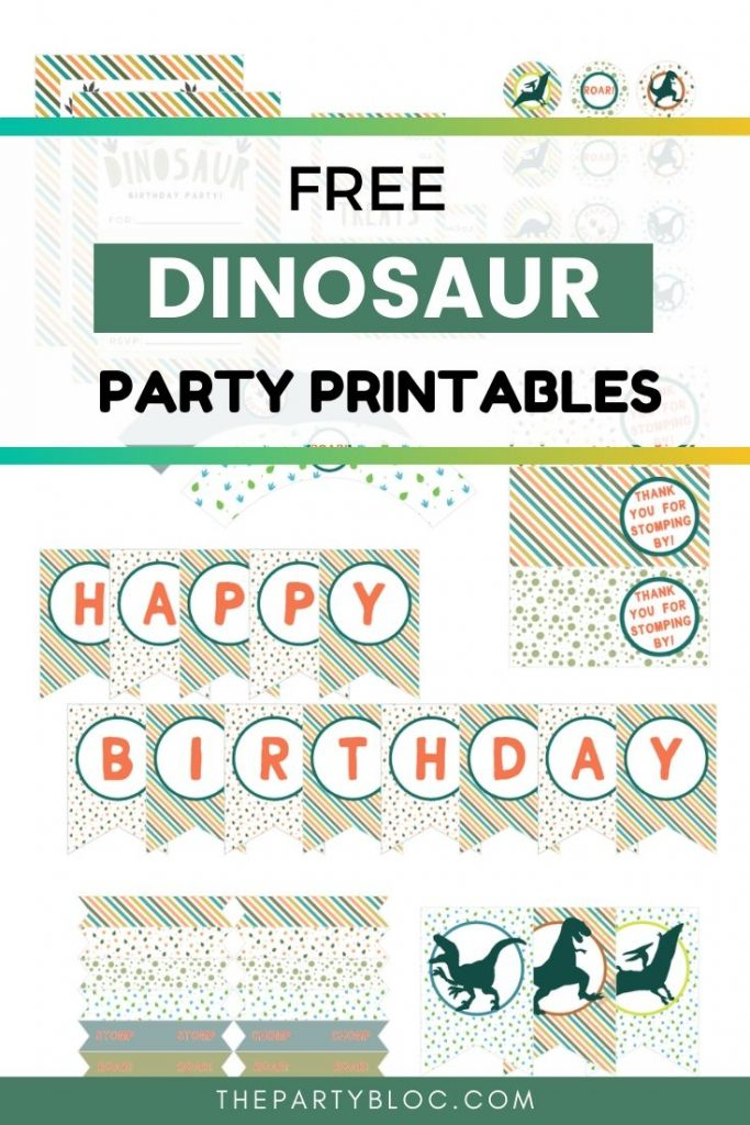 Free Dinosaur Birthday Party Printables from The Party Bloc. Planning a dinosaur birthday party for your dino loving kid? You'll need these FREE dinosaur party printables!
