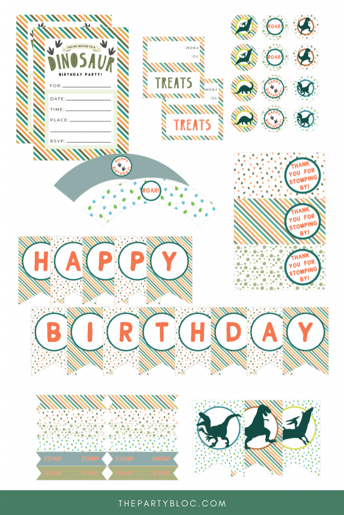 Free Dinosaur Birthday Party Printables from The Party Bloc