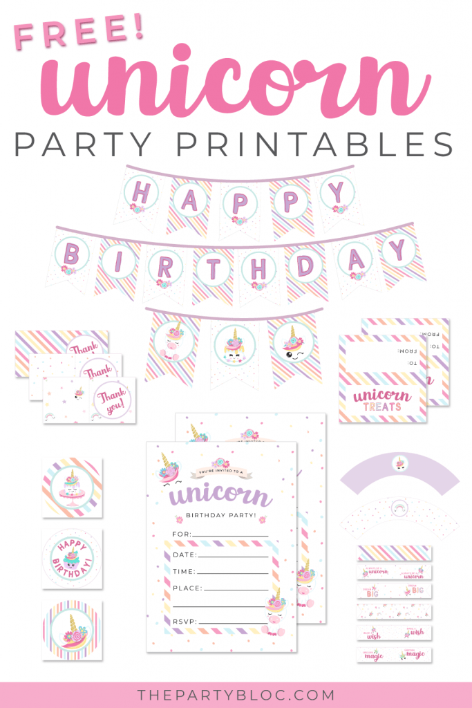 Free unicorn party printable pack