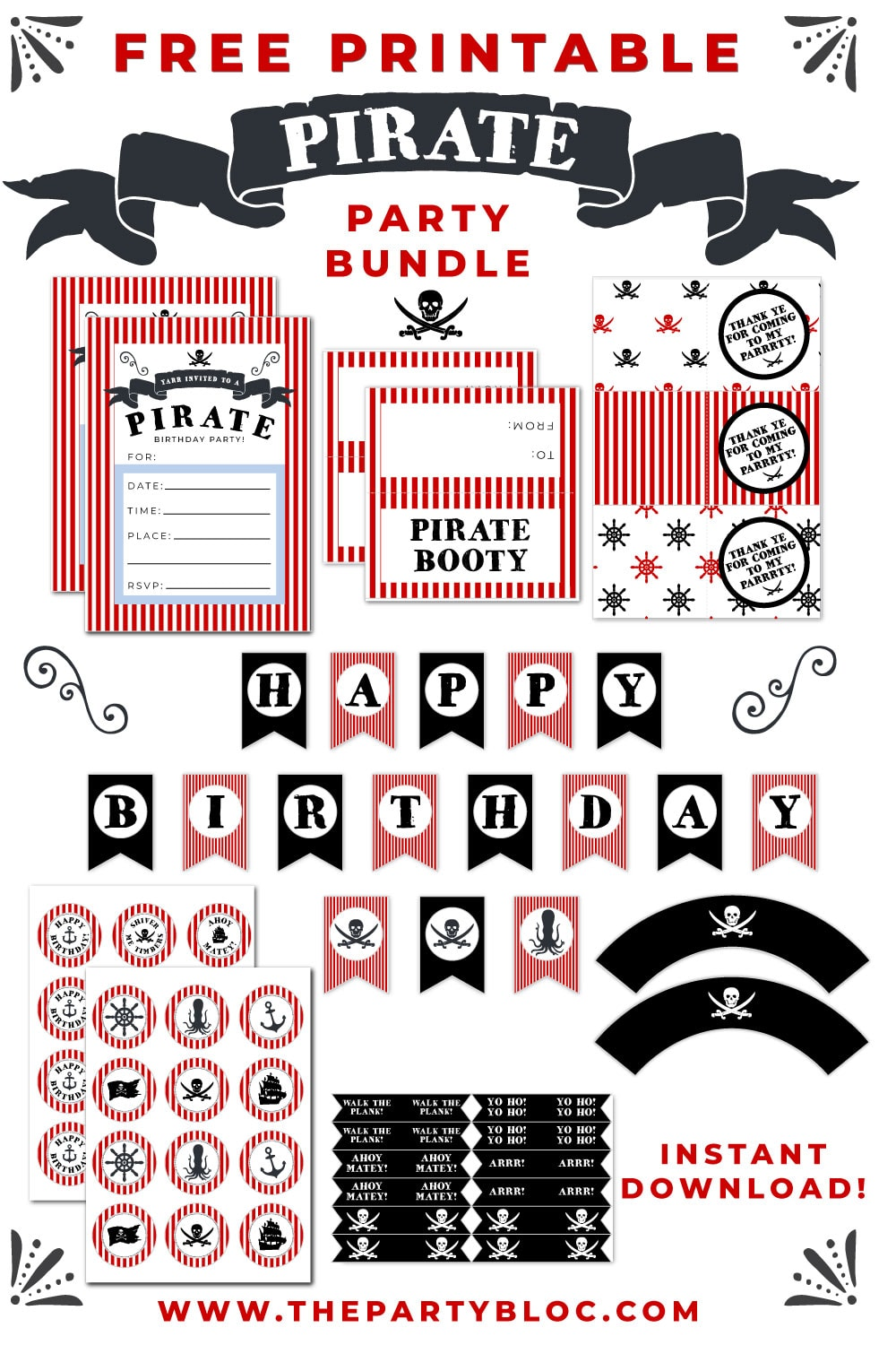 Free Pirate Birthday Party Printable Pack
