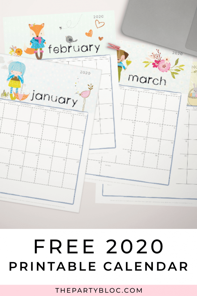 The free 2020 printable calendar is here! 2020 is just around the corner, so be sure to use this cute, free printable monthly calendar to stay organized. Perfect for tracking all of your events, appointments, and of course planning all those fun parties!