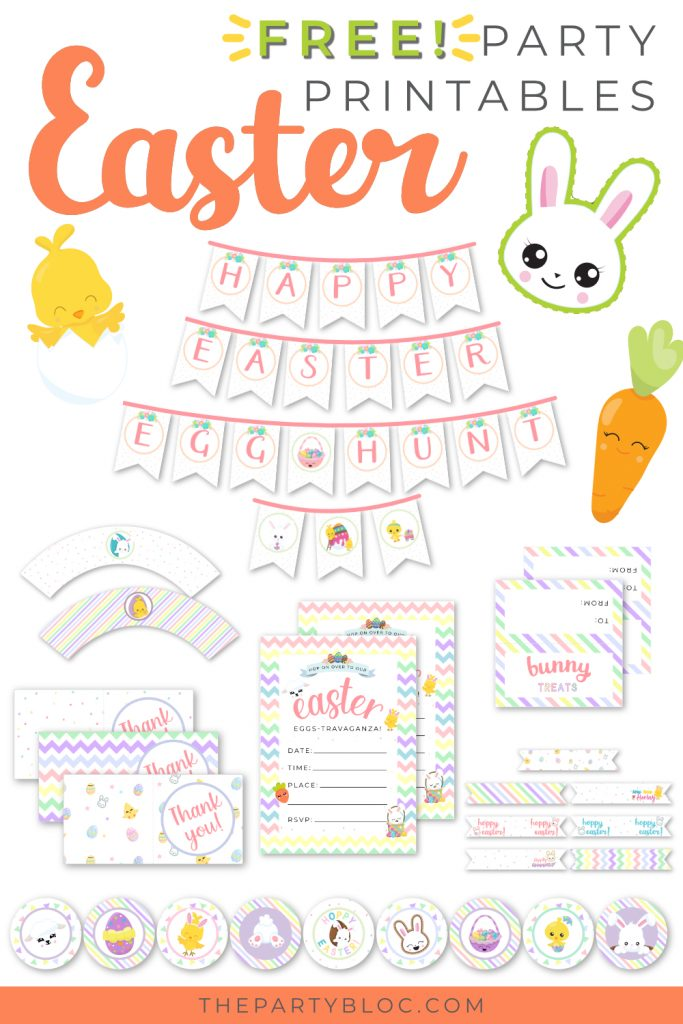 Free Easter party printable invitations and cake toppers