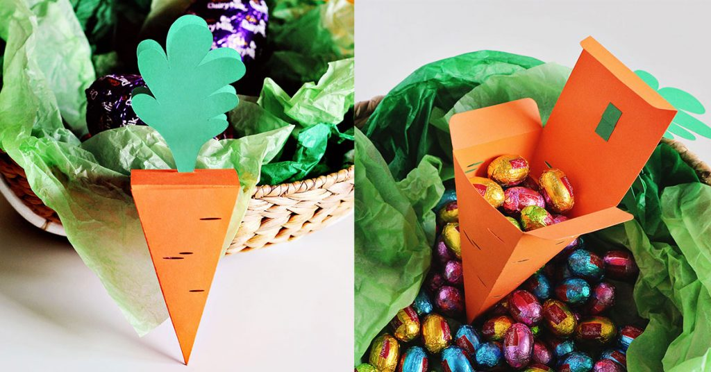 Carrot treat box with an Easter basket and an open carrot box filled with mini chocolate eggs