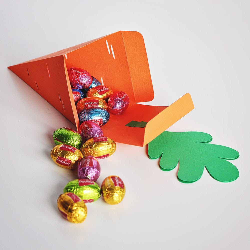DIY Easter carrot treat box with mini chocolate eggs inside