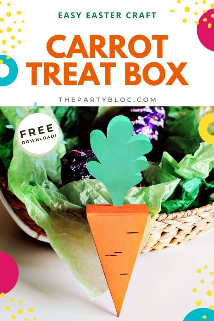 This easy DIY carrot treat box is a perfect Easter craft for kids (and adults!). It's a cute way to gift little Easter treats, or hide an Easter Egg Hunt clue. Or make a few of them to use as fun Easter decorations or table decor. Free printable pattern for you to print and cut, or cut on a Cricut or Silhouette. This easy papercraft box is also an excellent beginner Cricut project!