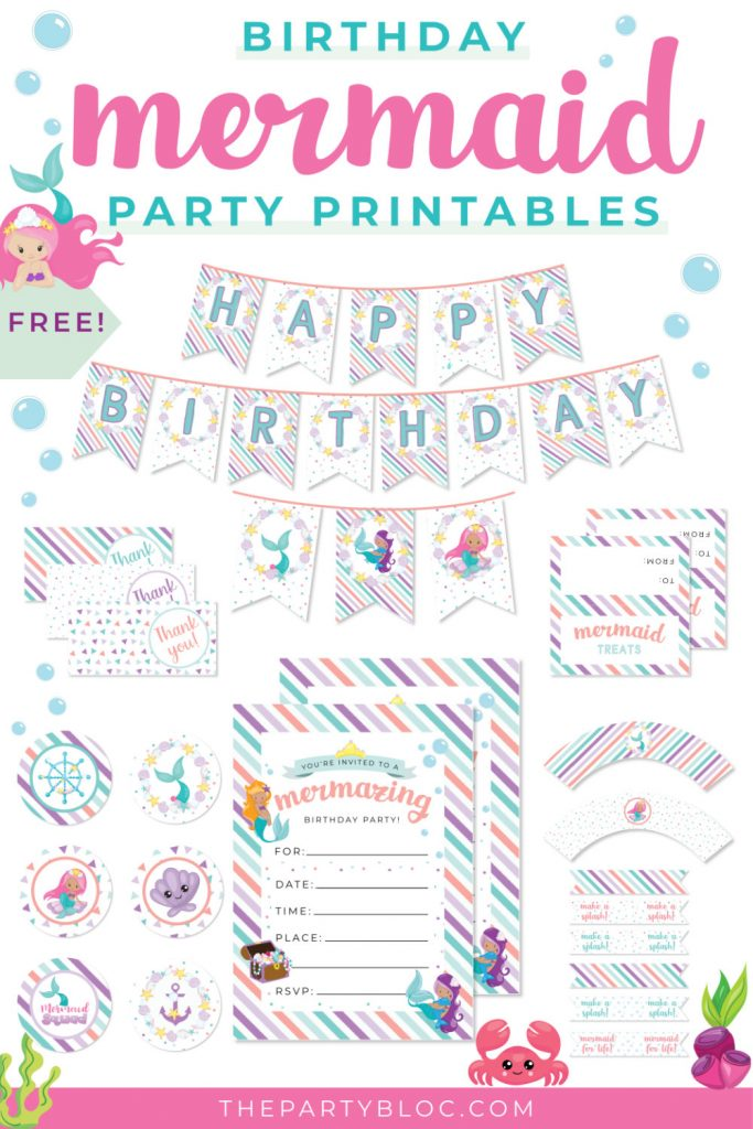 Free Mermaid Birthday Party Printables Pack
