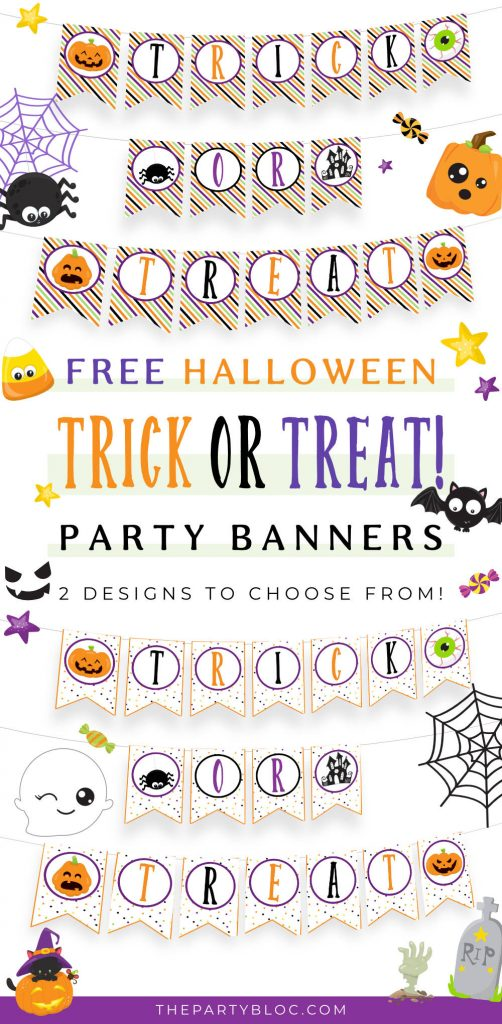 Free printable halloween trick or treat banners in two designs