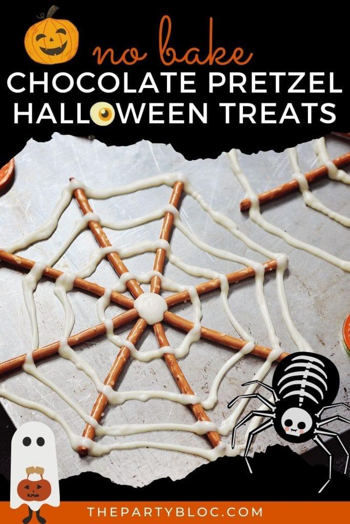 No Bake 2 Ingredient chocolate pretzel snacks for Halloween