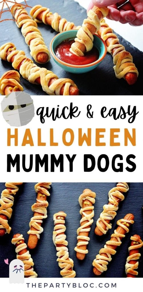 These Halloween hot dog mummies are a cute and scary Halloween dinner idea! They're the perfect Halloween party food, and kids will love them as a snack for a fun and easy dinner. And they're so simple you only need 2 ingredients!
