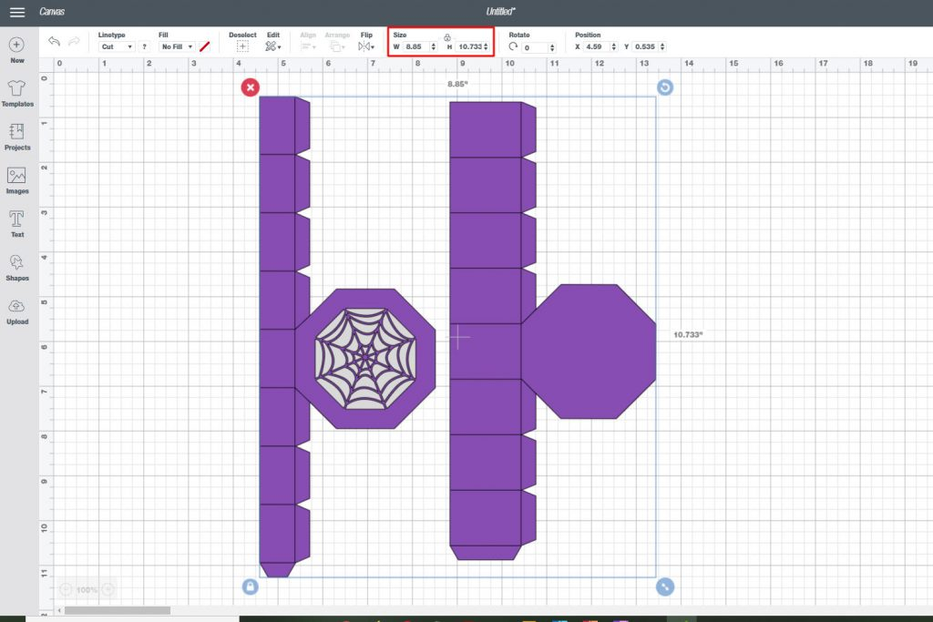 check the size of the grouped image in cricut design space