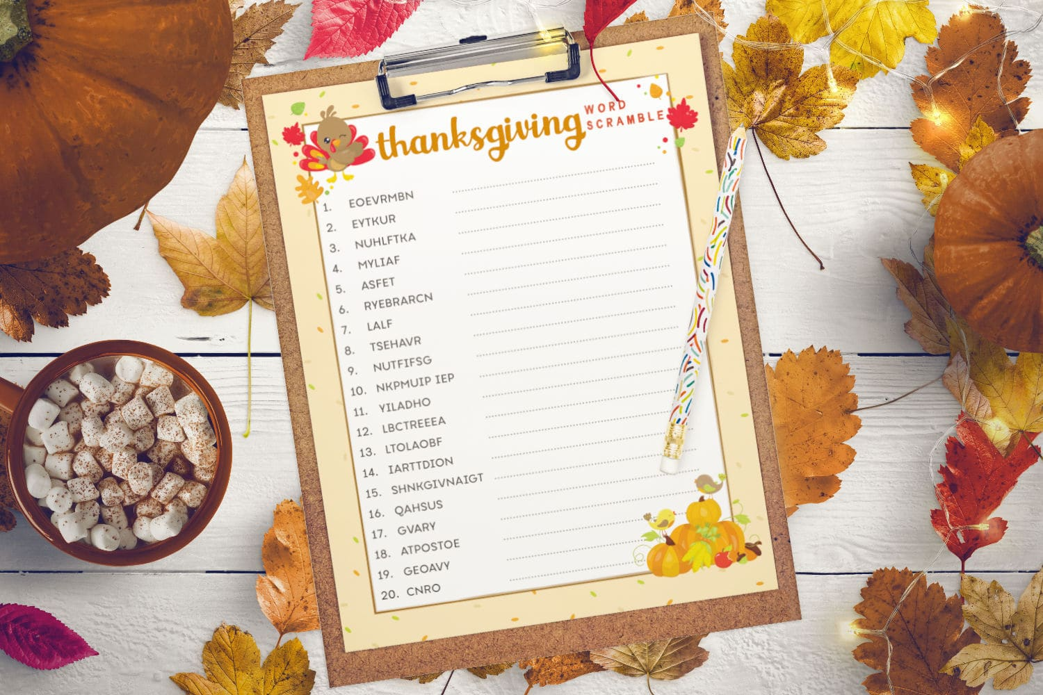 Thanksgiving word scramble activity