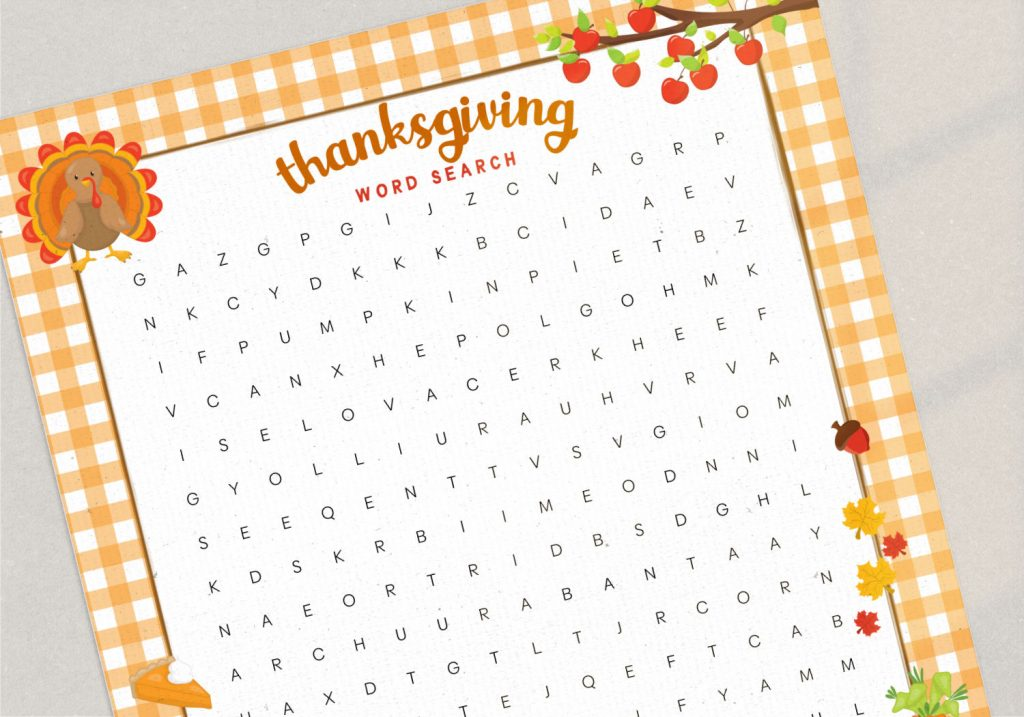 close up of the free thanksgiving word search