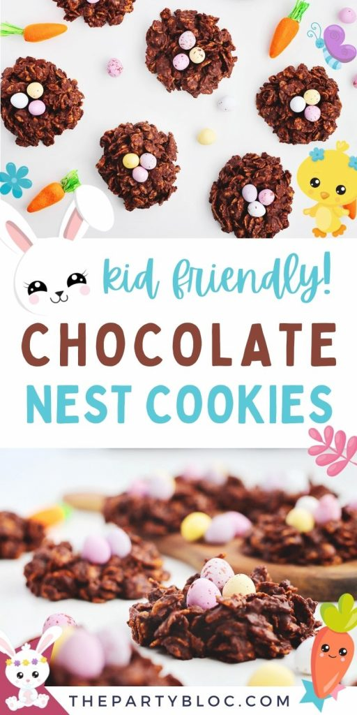 Kid friendly chocolate nest cookies for Easter!