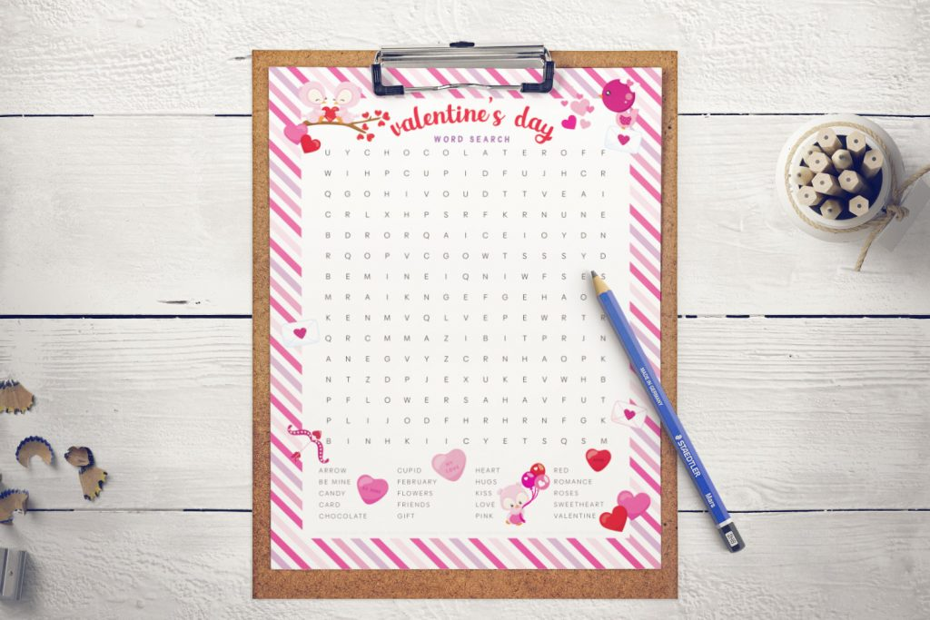 Free printable Valentine's Day word search activity